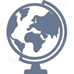 Icon of Globe. Vector depicting lawyer service for expatriates