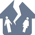 Vector Icon depicting divorce of couple for lawyer service, house with a crack