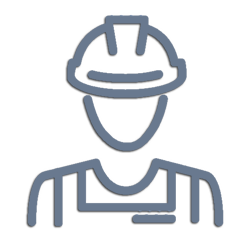 Icon depicting worker with safety helmet. Vector for lawyer service Iliopoulos
