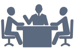 Icon depicting a legal mediation in process. Vector for law service Iliopoulos